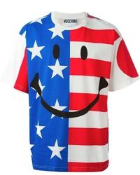 T-shirt à col rond imprimé blanc et rouge et bleu marine