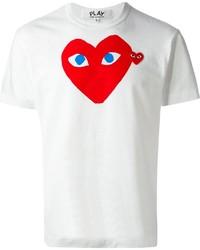 T-shirt à col rond imprimé blanc et rouge