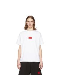 T-shirt à col rond imprimé blanc et rouge 424
