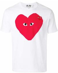 T-shirt à col rond imprimé blanc et rouge Comme des Garcons