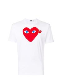 T-shirt à col rond imprimé blanc et rouge Comme Des Garcons Play