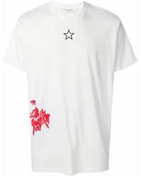 T-shirt à col rond imprimé blanc et rouge Givenchy