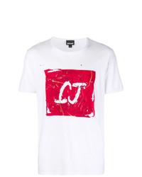 T-shirt à col rond imprimé blanc et rouge Just Cavalli