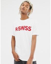 T-shirt à col rond imprimé blanc et rouge K-Swiss