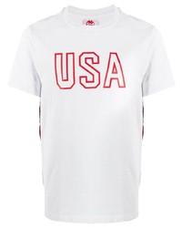 T-shirt à col rond imprimé blanc et rouge Kappa