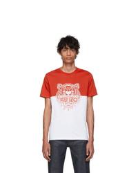 T-shirt à col rond imprimé blanc et rouge Kenzo