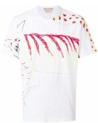 T-shirt à col rond imprimé blanc et rouge Marni