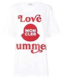 T-shirt à col rond imprimé blanc et rouge Moncler
