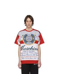 T-shirt à col rond imprimé blanc et rouge Moschino