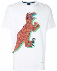 T-shirt à col rond imprimé blanc et rouge Paul Smith