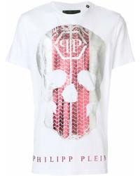 T-shirt à col rond imprimé blanc et rouge Philipp Plein