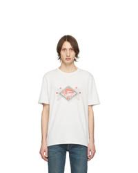 T-shirt à col rond imprimé blanc et rouge Saint Laurent