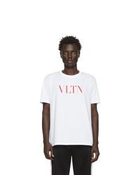 T-shirt à col rond imprimé blanc et rouge Valentino