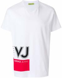 T-shirt à col rond imprimé blanc et rouge Versace