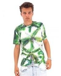T-shirt à col rond imprimé blanc et vert