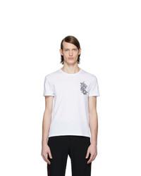 T-shirt à col rond imprimé blanc Alexander McQueen