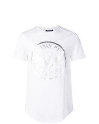 T-shirt à col rond imprimé blanc Balmain