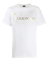 T-shirt à col rond imprimé blanc Billionaire
