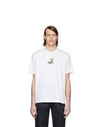 T-shirt à col rond imprimé blanc Burberry