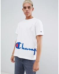 T-shirt à col rond imprimé blanc Champion