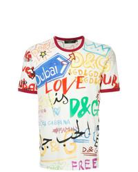 T-shirt à col rond imprimé blanc Dolce & Gabbana