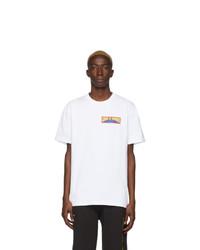 T-shirt à col rond imprimé blanc DOUBLE RAINBOUU