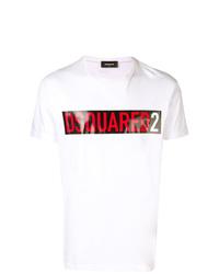 T-shirt à col rond imprimé blanc DSQUARED2