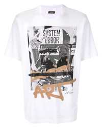 T-shirt à col rond imprimé blanc Ermenegildo Zegna