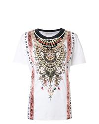 T-shirt à col rond imprimé blanc Etro