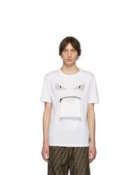 T-shirt à col rond imprimé blanc Fendi
