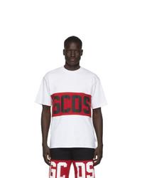 T-shirt à col rond imprimé blanc Gcds