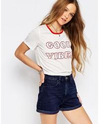 T-shirt à col rond imprimé blanc Glamorous
