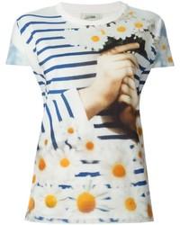 T-shirt à col rond imprimé blanc Jean Paul Gaultier