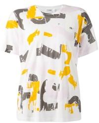 T-shirt à col rond imprimé blanc Jil Sander
