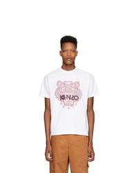 T-shirt à col rond imprimé blanc Kenzo