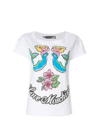 T-shirt à col rond imprimé blanc Love Moschino