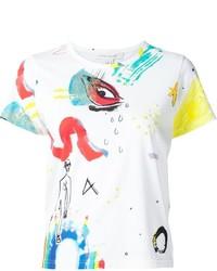 T-shirt à col rond imprimé blanc Marc Jacobs