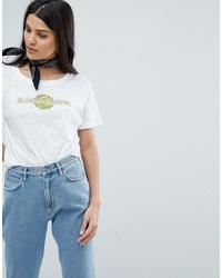 T-shirt à col rond imprimé blanc MiH Jeans