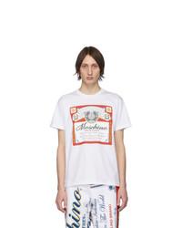 T-shirt à col rond imprimé blanc Moschino