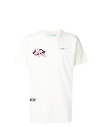 T-shirt à col rond imprimé blanc Off-White