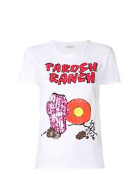 T-shirt à col rond imprimé blanc P.A.R.O.S.H.