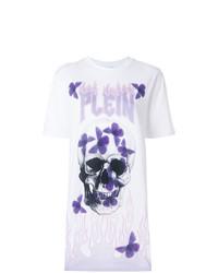 T-shirt à col rond imprimé blanc Philipp Plein