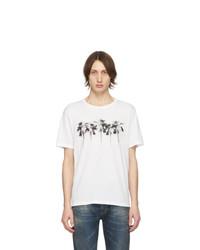 T-shirt à col rond imprimé blanc Saint Laurent
