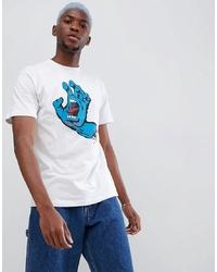 T-shirt à col rond imprimé blanc Santa Cruz