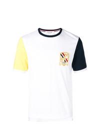 T-shirt à col rond imprimé blanc Thom Browne