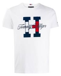 T-shirt à col rond imprimé blanc Tommy Hilfiger