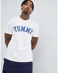 T-shirt à col rond imprimé blanc Tommy Jeans