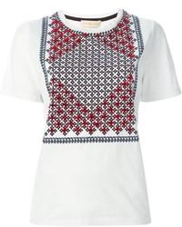 T-shirt à col rond imprimé blanc Tory Burch
