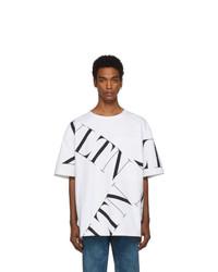 T-shirt à col rond imprimé blanc Valentino