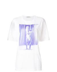 T-shirt à col rond imprimé blanc Wales Bonner